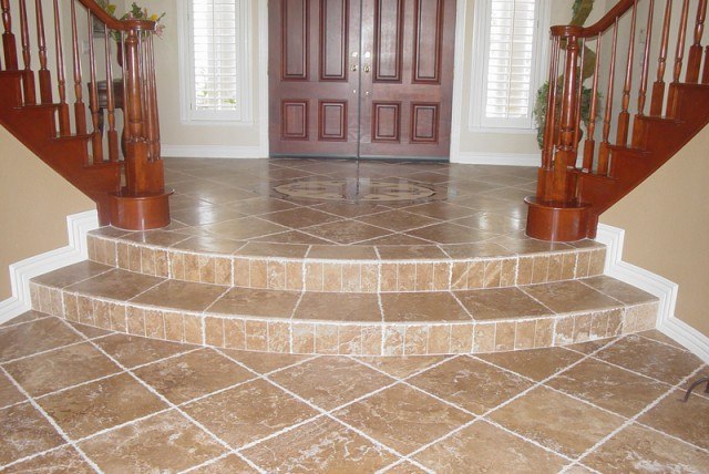 West Way Contracting Porcelain Tile Travertine Noce Mosaic Beige
